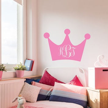Princess Crown Wall Decals For Girls Name Monogram Decal Crown Vinyl Stickers Home Bedroom Decor T9