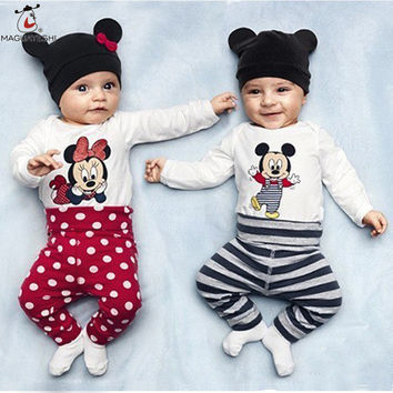 Baby Boys Girls Rompers Infant Cute Cartoon Long Sleeve Jumpsuit Toddler Animal Clothing Sets Newborn Baby Clothes+Hat+Pants