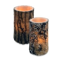 Wax Lodge Bark Carved Flameless LED Candle