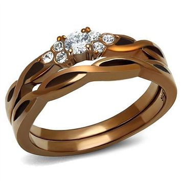WildKlass Stainless Steel Ring IP Coffee Light Women AAA Grade CZ Clear