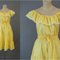 70s Yellow Peasant Summer Dress, fits 36 bust, Vintage 1970s Off shoulder Summer Dress