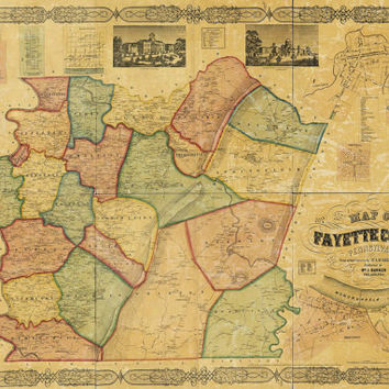 Vintage Print of Fayette County Pennsylvana Map on Canvas Photo Paper or Matte Chart 1800s antique