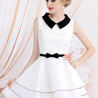 @Free Shipping@ Ladies Sexy Baby-Collar Cotton and Blends White Dress S/M/L H009w