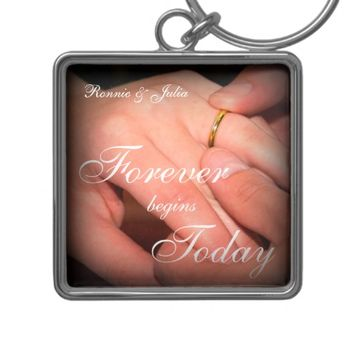 Bride and Groom Wedding Quote Keychain