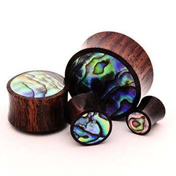 Pair of Sono Wood with Abalone Inlay Plugs - 00g - 10mm - Sold As a Pair