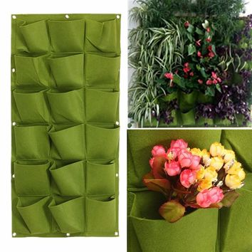 18 Pockets Vertical Wall Planter Growing Bags Green Hang Wall Garden Seedling Plant Grow Bag Planter Seedling Pot