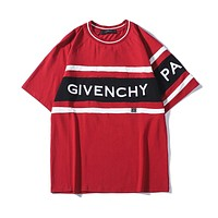 Givenchy 2019 early spring new embroidered letter round neck short-sleeved T-shirt Red