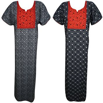 Mogul Interior Lot Of 2 Lexi Womens Maxi Dress Nightdress Black Printed Summer Kaftan Nightgown L