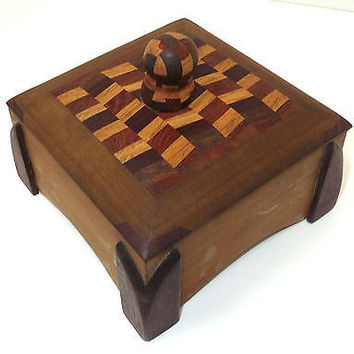 Texas Artist Wood Marquetry Box w Lid  Don Shepard Signed 2000