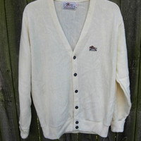 Cardigan Sweater M L Mens vintage 70s Cream Off White Acrylic by STEEPLECHASE Horse Equestrian Embroidery