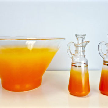 Vintage Orange Gold Salad Bowl Dressing Set, Oil Vinegar Set, Glass Salad Set, Bright Orange Gold Summer Decor, BBQ, Picnic, Vintage Kitchen
