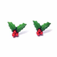 Handmade Holiday Mistletoe Holly and Berries Earrings - Christmas Jewelry