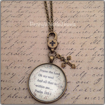 Psalm 103:1 Scripture Necklace, Praise The Lord Oh My Soul, Bible Verse Necklace, Scripture Jewelry, Christian Jewelry, PennyWhistle