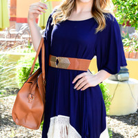 AT FIRST SIGHT FRINGE TUNIC IN NAVY