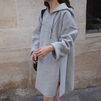 Side Split Hoodie Dress