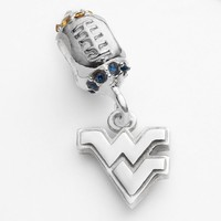 Dayna U West Virginia Mountaineers Sterling Silver Crystal Football Logo Charm (Blue/Silver/Yellow)