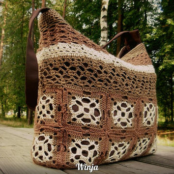 Crochet boho bag, knitted bag, tote bag, brown textile knit bag, hand knit bag, boho bag, beige bag, handmade bag women, fashion bag