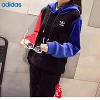 """Adidas"" Women Multicolor Letter Print Thickened Long Sleeve Hooded Trousers Set Two-Piece Sportswear"