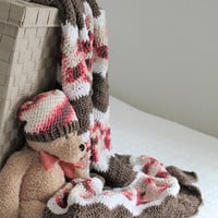 Brown and Pink Baby Blanket and Hat, Crochet Baby Striped Afghan, Crib Blanket, Toddler Throw, Brown White and Pink Multi Baby Set
