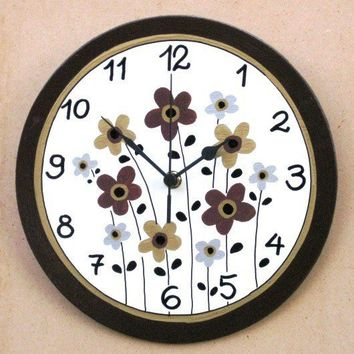 Brown And Cream Wall Clock With Flowers Painting
