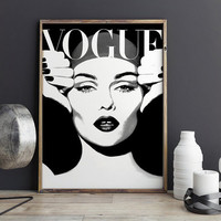 PRINTABLE Art,VOGUE COVER,Vogue Print,Vogue Poster,Vintage Style,Vogue Magazine,Vogue Wall Art,Fashion Illustration,Fashionista,Office Decor