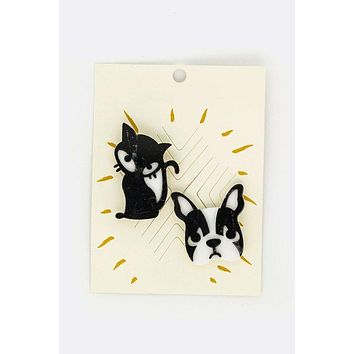Cat and Dog 2 PC Set Brooch