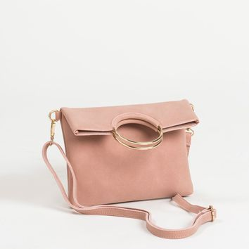 Sharon Pink Faux Suede Foldover Clutch