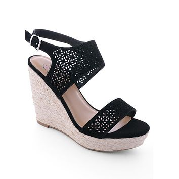 Black Eliza Laser Cut Wedges