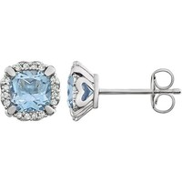 14kt White Gold Cushion Sky Blue Topaz & 1/10 CTW Diamond Halo Earrings