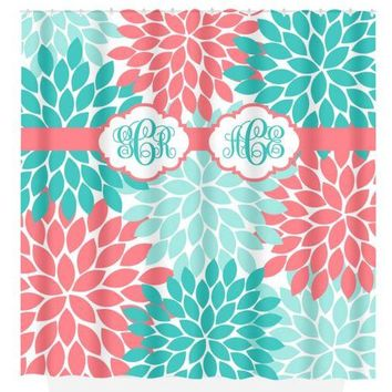 Coral Aqua SHOWER CURTAIN, Flower Burst, Dorm MONOGRAM Personalized, Sister Bathroom Decor, Bath Towel, Plush Bath Mat