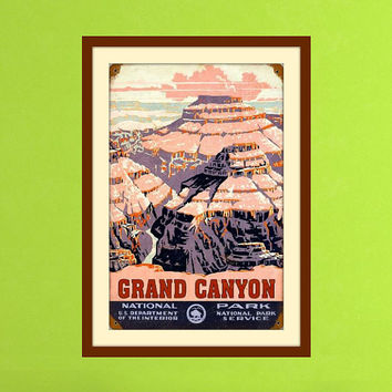 Grand Canyon Art, Vintage Wall Art, Grand Canyon Poster, Arizona State, Arizona Art, Retro Poster, Vintage Artwork, National Park Poster