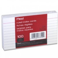Mead Index Cards, Ruled, 3 x 5 Inch, White, 100 Per Pack (63350)