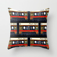 Vintage classic retro Gold mix cassette tape Throw Pillow by Three Second