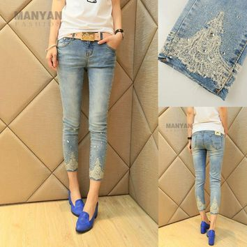 high quality new seven  jeans  female diamond studded pants all-match nine skinny jeans woman