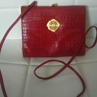 Vintage Albert Nipon red leather gold purse crossbody handbag estate clutch