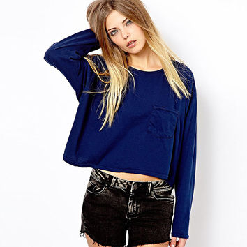 Cut off Long Sleeve Crop Top with Pockets - blue