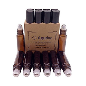 Glass Roller Bottles with Metal Roller Balls Aguder Set of 8 Amber Roll on bottles 10ml(1/3oz) for Aromatherapy, Perfume, Essential Oil and other liquids