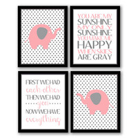 You Are My Sunshine, First We Had Each Other, Set of 4, Elephant Nursery, Polkadot, Children's Art, Custom, Pink & Gray, INSTANT DOWNLOAD