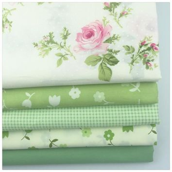 40*50CM 5PCS New Green Floral Printed Cotton Fabric Telas Bundle DIY Patchwork Sewing Baby Toy Material Quilting Bedding Tecido