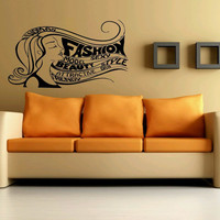 Wall Decor Vinyl Sticker Room Decal Art Sexy Fashion Woman Hairs Lettering Salon Style 968