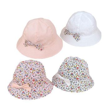 Flower Print Cotton Baby Summer Hat With Bow White/pink Kids Girl Summer Cap Double Sides Can Wear For 1 3 Years 1 Pc