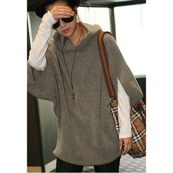 Batwing Sleeves Blend Fleeces Plus Size Hoodie