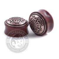 Antique Bronze Tribal Rose Wood Plugs