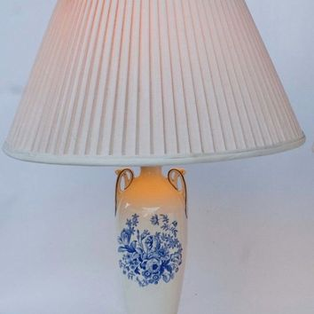 Antique English Transferware Blue & White Lamp Royal Doulton Roses Floral Bouquet