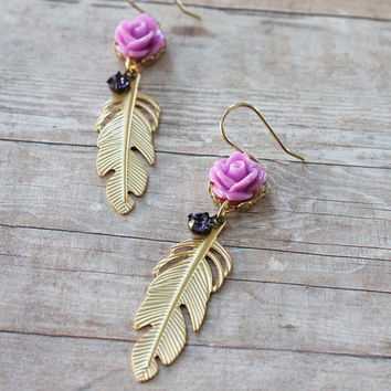 Gold Feather Earrings. Floral Jewelry. feather earrings. Bohemian Chic. Boho. Bridesmaids Earrings. Spring, Summer, Lilac Rose, Tanzanite