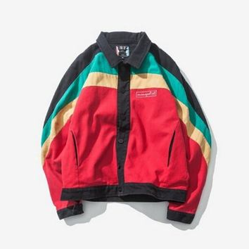 Jamaica style 2017 spring and autumn season personality collision color originality West Coast embroidered kanye west mens jacket