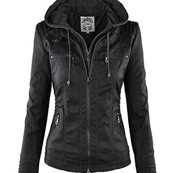 Womens Moto Jacket with Built-In Removable Hoodie