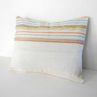 Cottage Pillow Cover Beach Upcycled 1960s Style 12 X 16