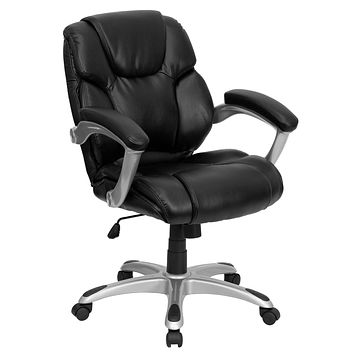 Mid-Back Leather Swivel Task Chair