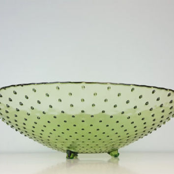 Vintage Large Hobnail Green Glass Footed Serving Bowl, Glass Decorative Salad Bowl, Light Green Decor, Vintage Home Decor, Vintage Art Glass